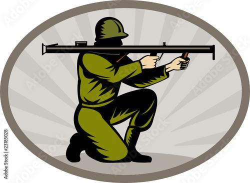 Deurstickers Militair World war two soldier aiming bazooka side