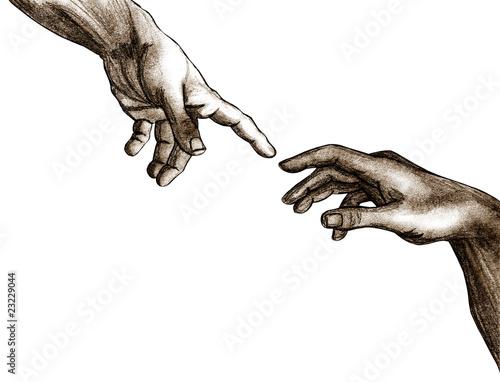 Fotografie, Obraz  Hands of God and Adam