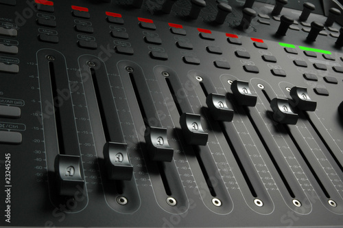 Fotografie, Obraz  Audio Mixing Board Sliders