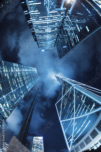 Autocollant - Downtown Hong Kong skyscrapers at night