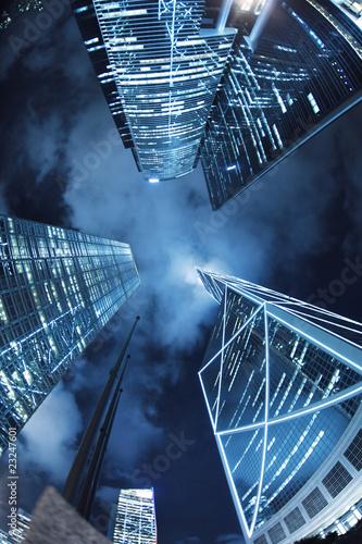 Etiqueta engomada - Downtown Hong Kong skyscrapers at night