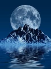 Obraz na Szkle Style Berg mit Mond