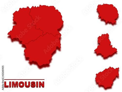 Cadres-photo bureau Pixel carte limousin région de france en rouge
