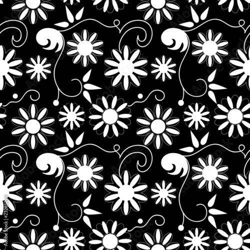 Staande foto Bloemen zwart wit Seamless background with art flowers