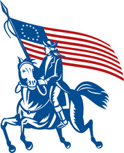 American General Riding Horse With Flag