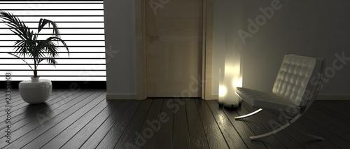 Fotografie, Obraz  Stanza con poltrona, lampada e pianta