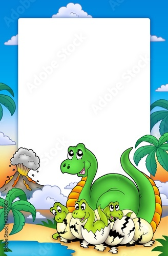 Wall Murals Dinosaurs Frame with little dinosaurs