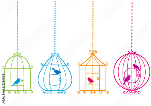 Fotobehang Vogels in kooien lovely birdcages with birds, vector