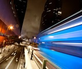 Fast moving bus at night
