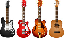 Vector Guitar Set. To See The Other Vector Guitar Illustrations , Please Check Guitars Collection.