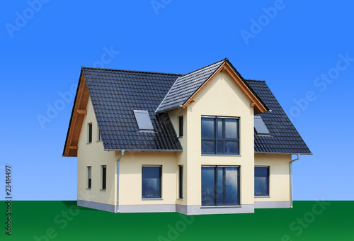 Photo  New, modern family house, isolated, path