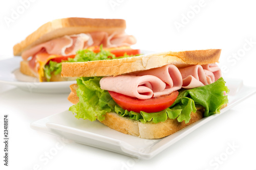 Staande foto Snack sandwich with turkey -sandwich di tacchino