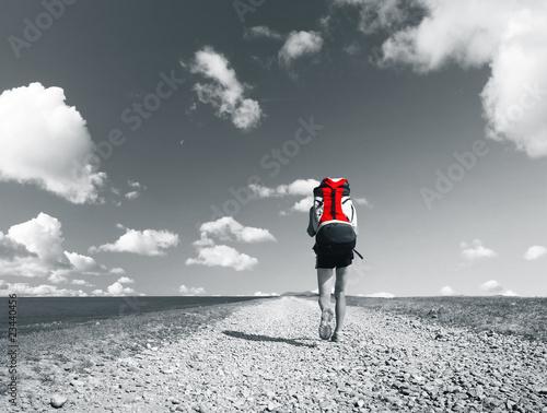 Poster Rouge, noir, blanc Road
