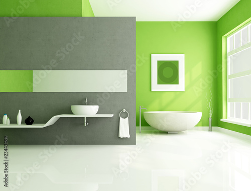 Valokuva  green and gray contemporary bathroom