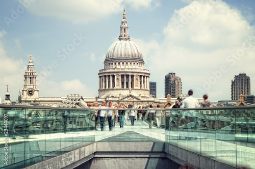 St. Paul's Cathedral and motion blured people (long exposure) Canvas Print