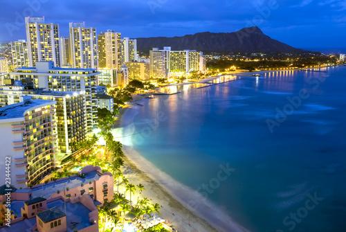 Fotografie, Obraz  Waikiki  beach in Honolulu, Hawaii.