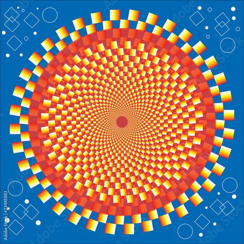 Wall Murals Psychedelic Golden Circle (motion illusion)