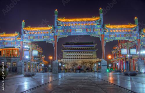 Fond de hotte en verre imprimé Pékin qianmen street beijing at night