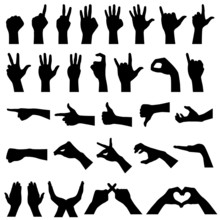 Hand Sign Gesture Silhouette
