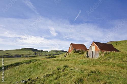 Islande - Cabanes paysannes au Lakagigar Canvas Print