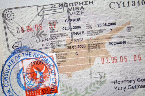 Foto op Canvas Cyprus Passport with Cyprus visa and stamps