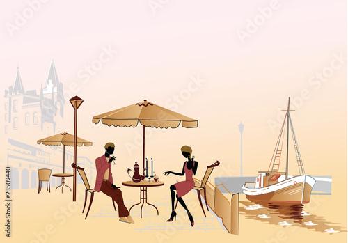 Foto auf AluDibond Gezeichnet Straßenkaffee Romantic date at the street cafe