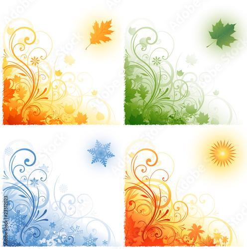 Fotografie, Tablou  Four seasons background
