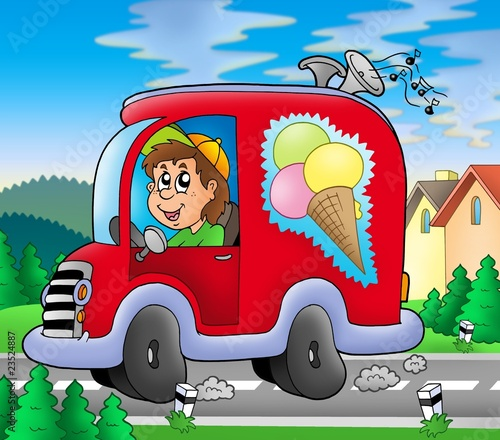 Recess Fitting Cars Ice cream man driving red car