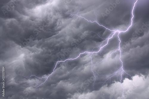 Fototapety, obrazy: Lighting in a dramatic stormy sky
