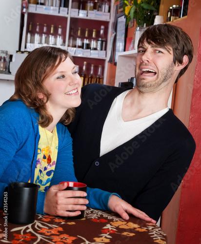 Fotografie, Obraz  Shy man and aggressive woman