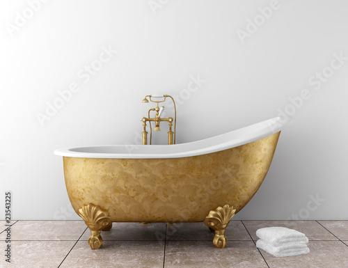 Valokuva  classic bathroom with old bathtub and white wall