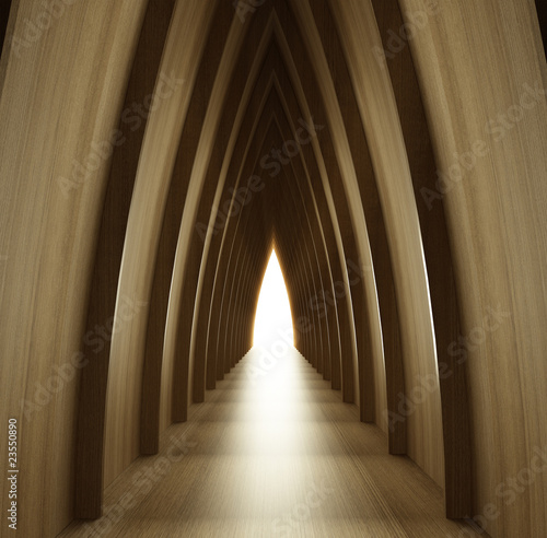 shined wood corridor view