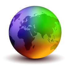 3D Multicolor Earth Globe