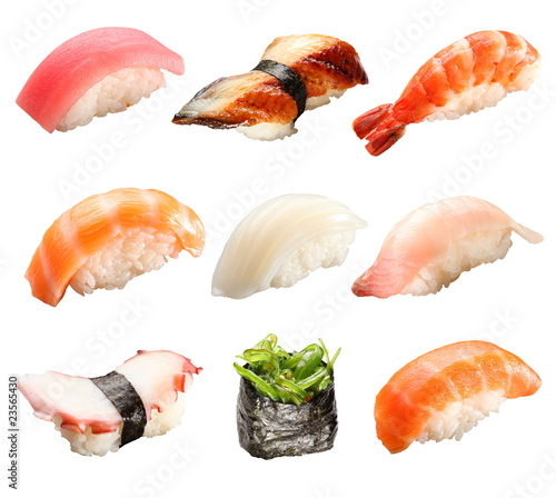 Fotografía  Japanese sushi isolated on a white background
