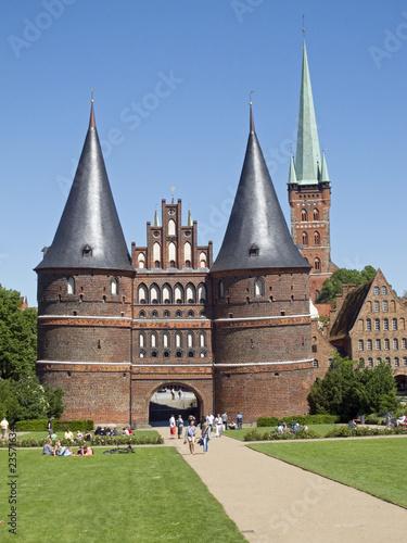 Garden Poster Cathedral Cove Holstentor in Lübeck, Schleswig-Holstein,Deutschland