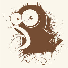 Vogel Zwittschern Cartoon Vint...