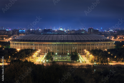 Tuinposter Stadion Stadium Luzniki at night in Moscow