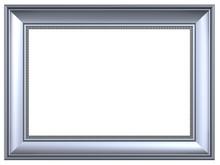 Silver Rectangular Frame Isolated On White Background.