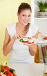 Beauty, young girl eating mozzarella salad
