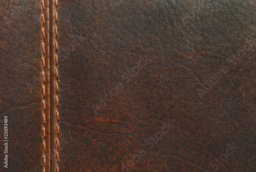 Deurstickers Leder brown leather with seam
