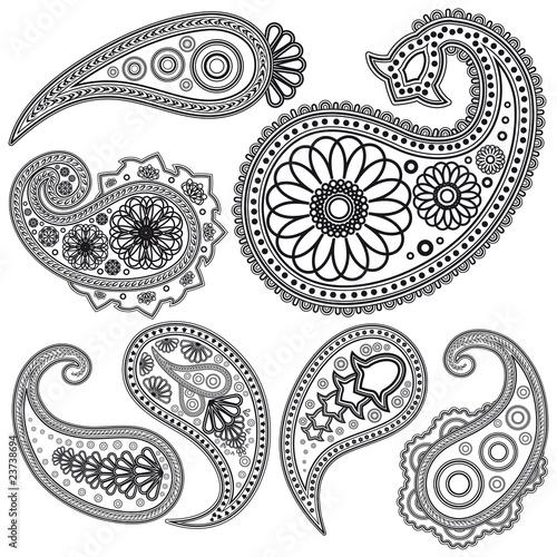 Fototapeta Eps Vintage Paisley  patterns for design.