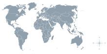 Weltkarte Mit Grenzen, Kompass