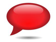 Red Speech Bubble Icon (vector Blank Template Button Internet)