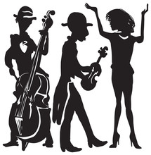 Music, Musicians, Singer, Violin And Double Bass