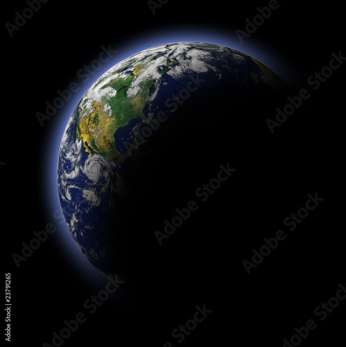 Real Earth Planet in blue sun - Buy this stock photo and