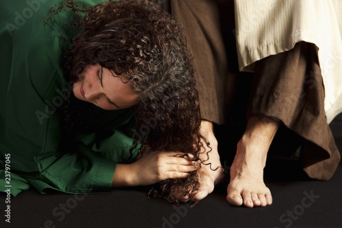 Mary Magdalene Wiping Jesus' Feet Wallpaper Mural