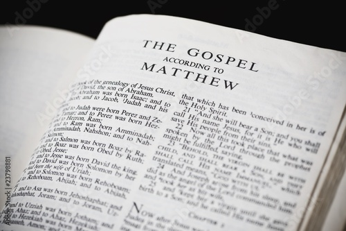 Photo Bible Open To The Gospel According To Matthew