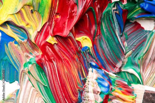 Foto op Plexiglas Paradijsvogel Brush mixing paint on palette
