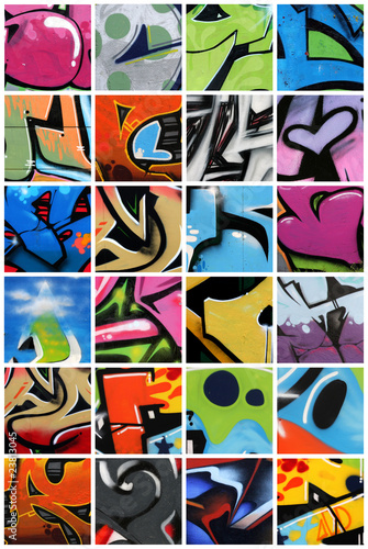 Stickers pour porte Graffiti collage Graffiti