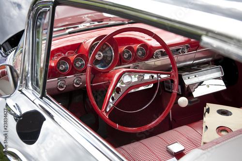 Poster Rouge, noir, blanc Classic Red Car Steering Wheel